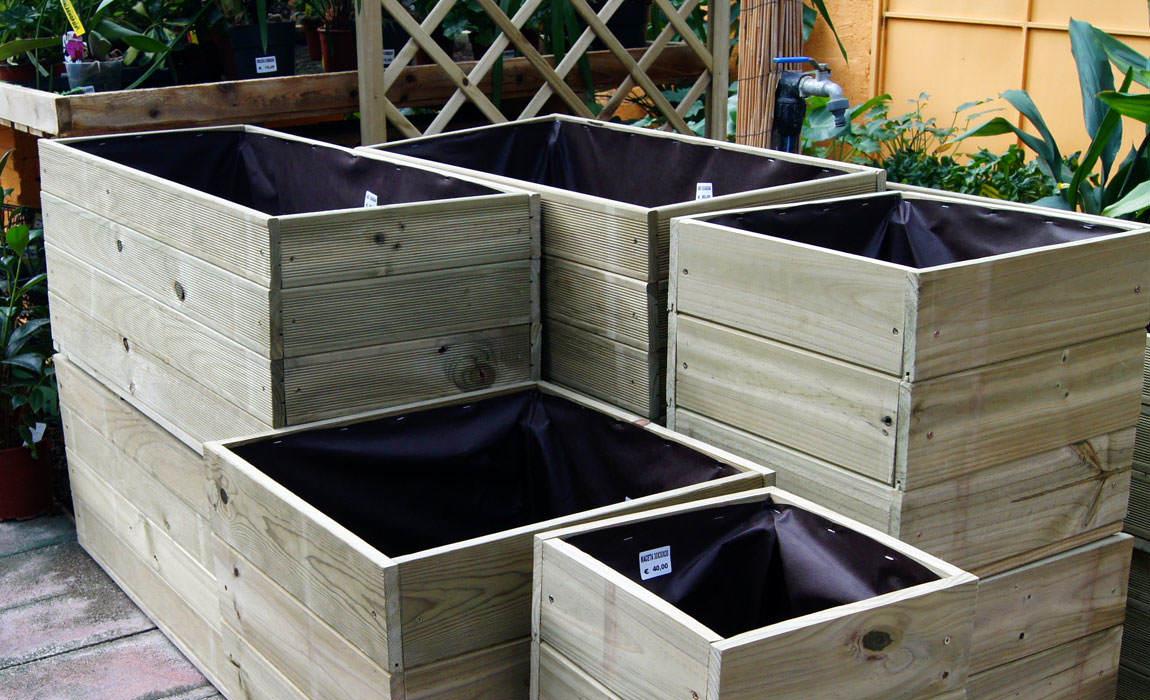 Macetas de madera para exterior jardinera rectangular de for Jardineras de madera para exterior